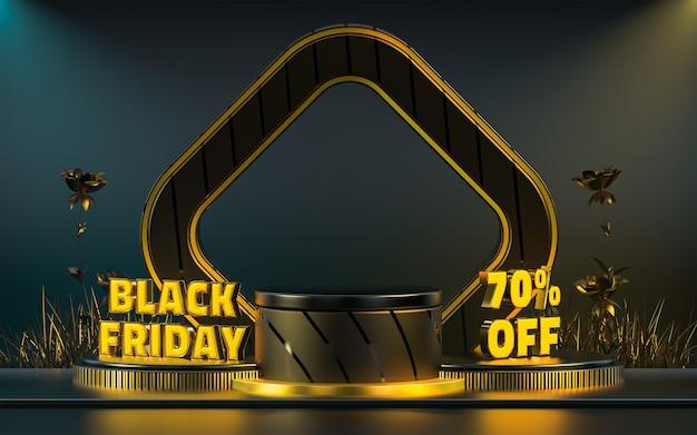 製品プレゼンテーションの3dレンダリングのためのブラックフライデー特別割引表彰台ステージの背景