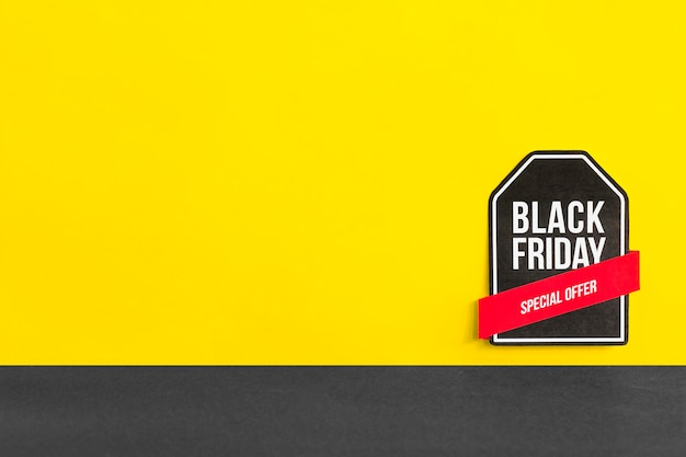 Black friday special offer inscription on yellow background