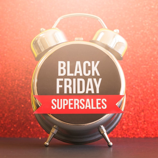 Black friday super sales inscription on clock