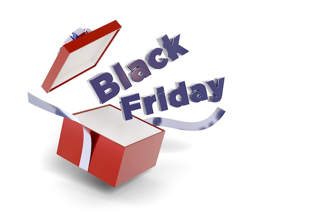 Black friday text coming out of a gift box isolated on a white background.