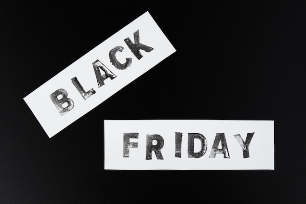 Black friday text on dark background