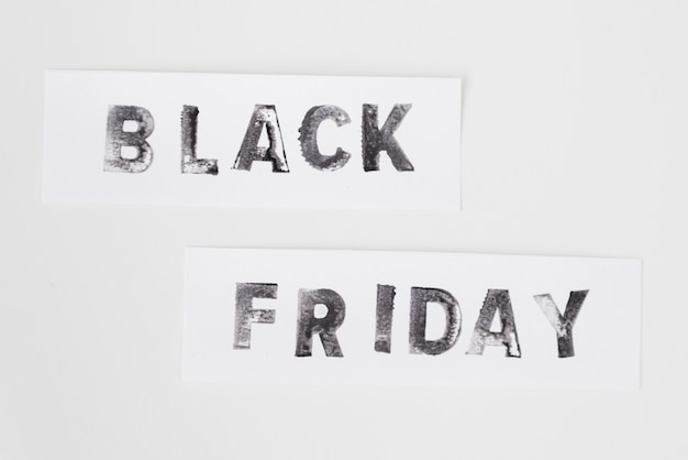 Black friday text on white background