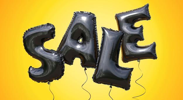 검은 금요일 노란색 배경 3d 렌더링에 검은 풍선으로 만든 sale이라는 단어