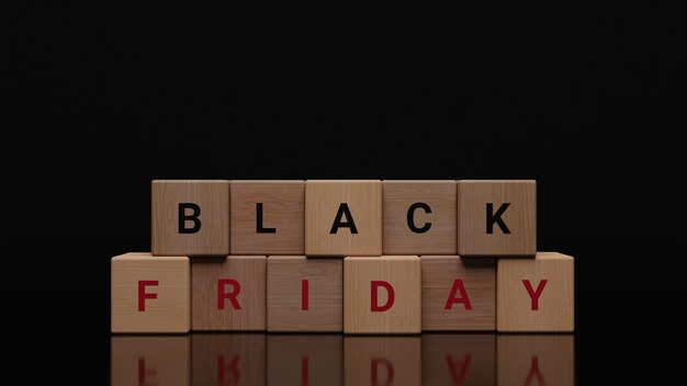 Black friday on wooden cubes
