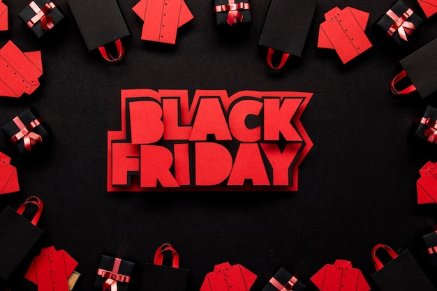 Black friday written in red colors