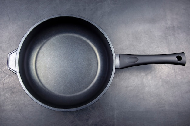 Black frying pan with non-stick teflon coating on black