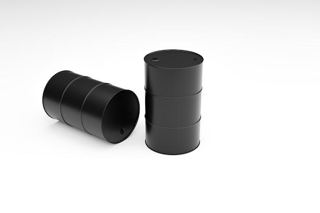 白い背景の上の黒い燃料タンク、3dイラストレンダリング