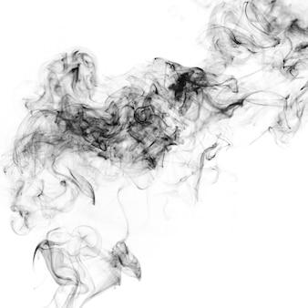 Black fume on white background