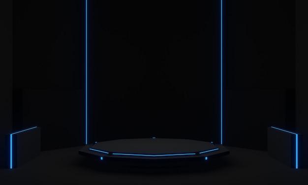 파란색 네온 불빛 과학 연단이 있는 검은색 미래형 스탠드