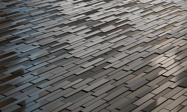 Черная футуристическая поверхность с четырехугольниками. 3d рендеринг