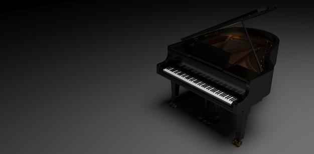 Фортепиано black gard на темном фоне, 3d иллюстрация