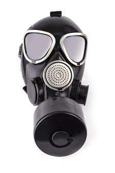 The black gas mask isolatade on white background