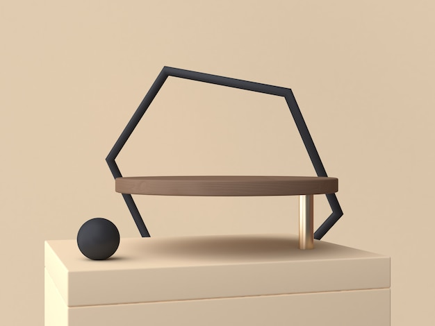 Black geometric abstract frame and brown circle podium 3d rendering