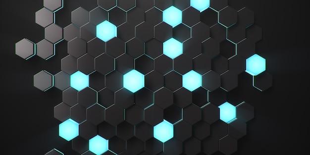 黒の幾何学的な六角形の抽象
