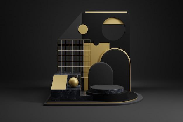 金の装飾が施された黒の幾何学的なモックアップ