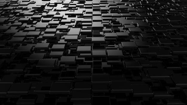 黒の幾何学的形状のレンガと立方体の構成