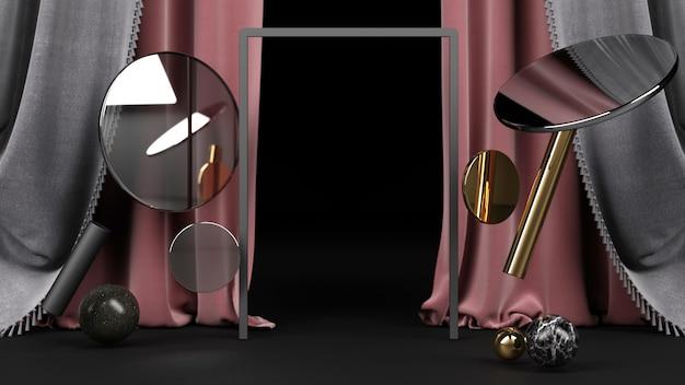 검정색과 금색 대리석 소재와 핑크 패브릭 배경 렌더링으로 검은 기하학적 모양