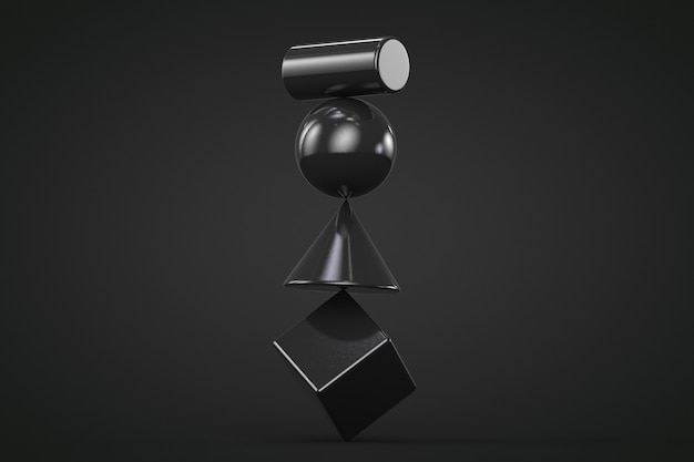 Black geometric shapes unstable construction isolated on black background