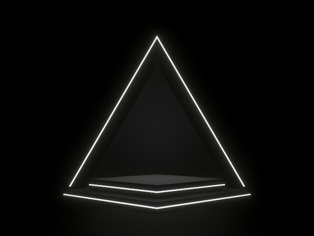 검은 기하학적 무대 연단과 네온 빛 어두운 배경