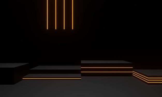 황금 네온 불빛이 있는 검은색 기하학적 무대