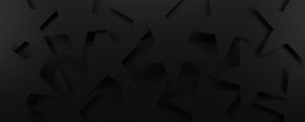 검은 기하학적 별이 빛나는 배경
