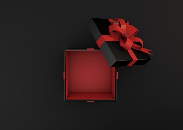 Black gift box on dark background top view. 3d render black friday sale concept