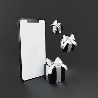 Black gift box with 3d smartphones