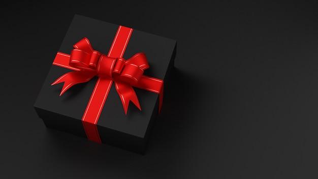 Черная подарочная коробка с красной лентой. черная пятница. день святого валентина. 3d визуализация.