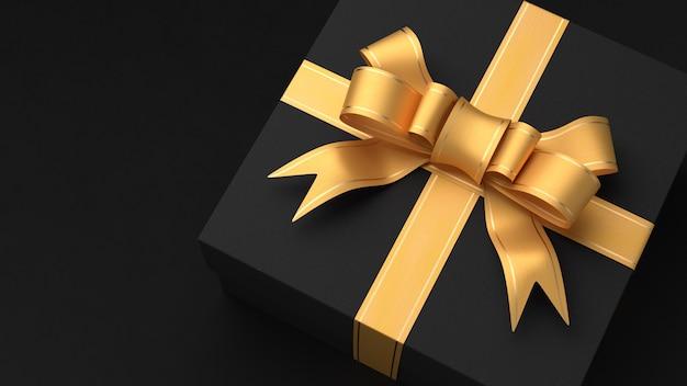Черная подарочная коробка с желтой лентой. черная пятница. день святого валентина. 3d визуализация.
