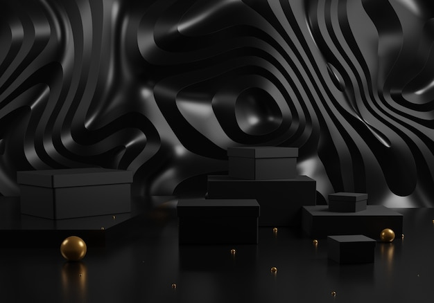 Black gift boxes and podium with golden balls on abstract black background.