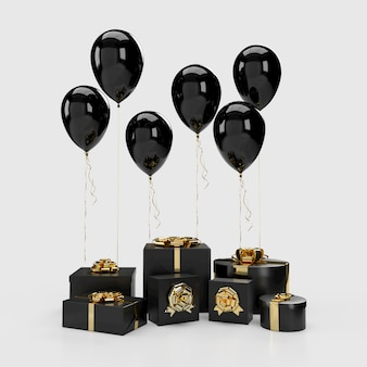Black gift boxes with balloons on background