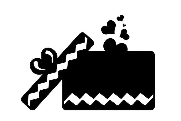 白い背景の上のハートと黒のギフトアイコン。