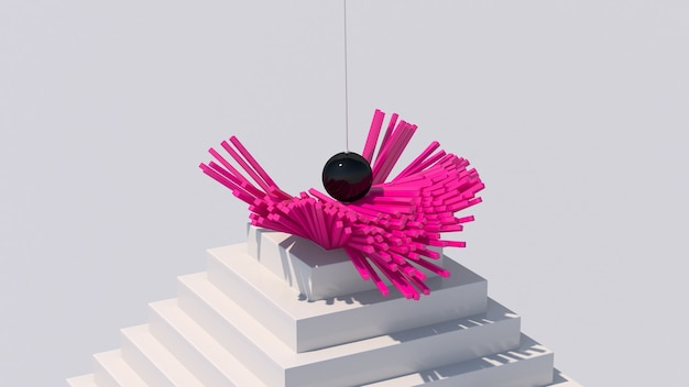Black glossy ball destroying pink blocks. white stairs. abstract illustration, 3d render.