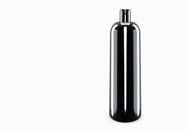 배경에서 고립 된 검은 광택 샴푸 플라스틱 부 틀 모형 : 샴푸 플라스틱 부 틀 패키지 디자인. 빈 위생, 의료, 신체 또는 얼굴 관리 템플릿. 3d 그림