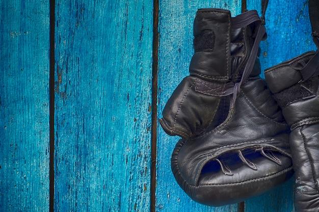 Black gloves for kickboxing