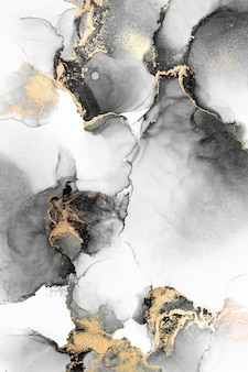 Black gold abstract background of marble liquid ink art painting on paper .