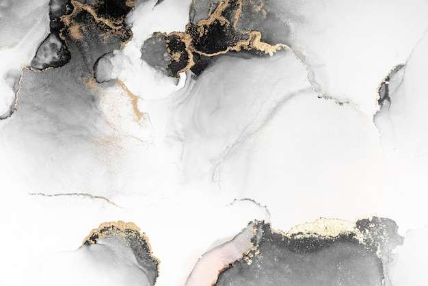 Черное золото абстрактный фон мраморной жидкой туши художественной росписи на бумаге. Premium Фотографии