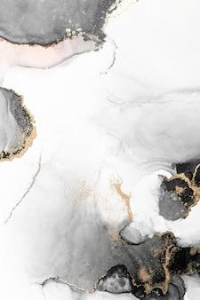 Черное золото абстрактный фон мраморной жидкой туши художественной росписи на бумаге.