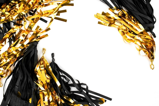 Black and gold abstract festive decoration background. flat lay. holiday concept