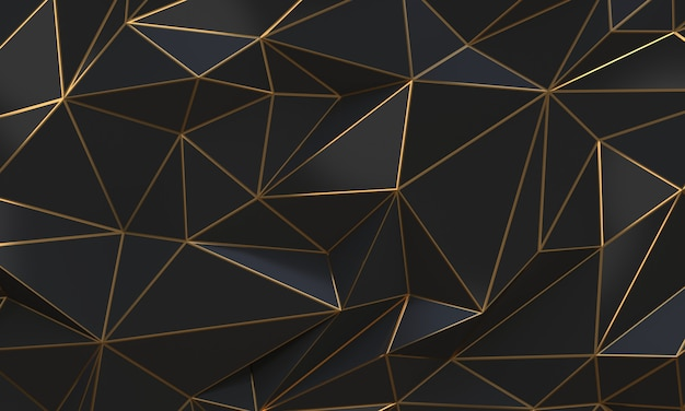 Black and gold abstract low poly triangles