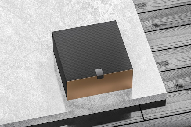 Black and gold cardboard jewelry gift box mockup for branding and identity