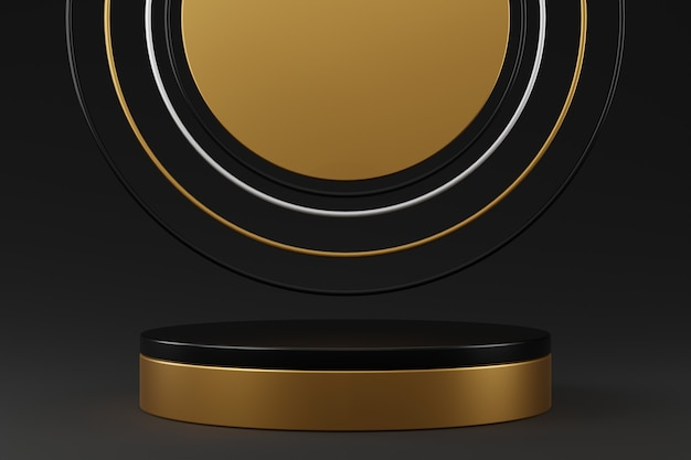 Black gold cylinder podium and black silver gold ring on gradient gray background.