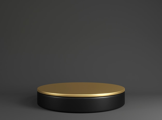 Black and gold podium for the exhibition of goods
