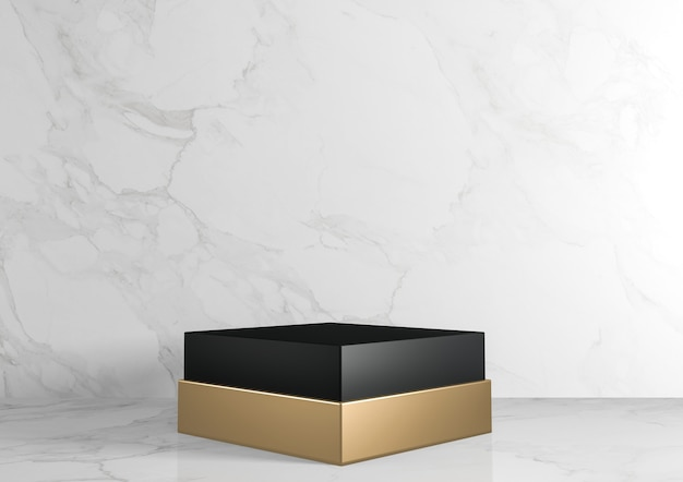 Black and gold square rectangle pedestal white for cosmetic product on background granite white. 3d rendering
