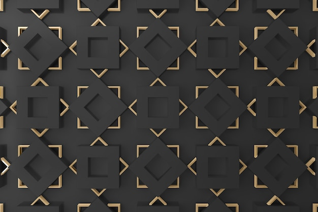 Black and gold square shape 3d wall for background, wallpaper or backdrop