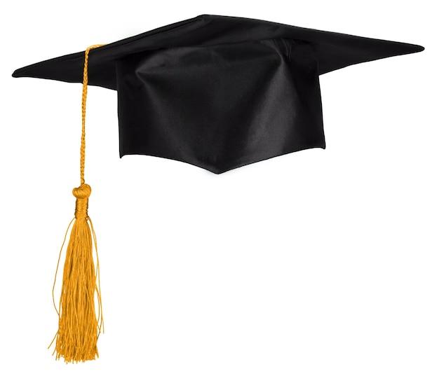 白い背景で隔離の黒い卒業帽。
