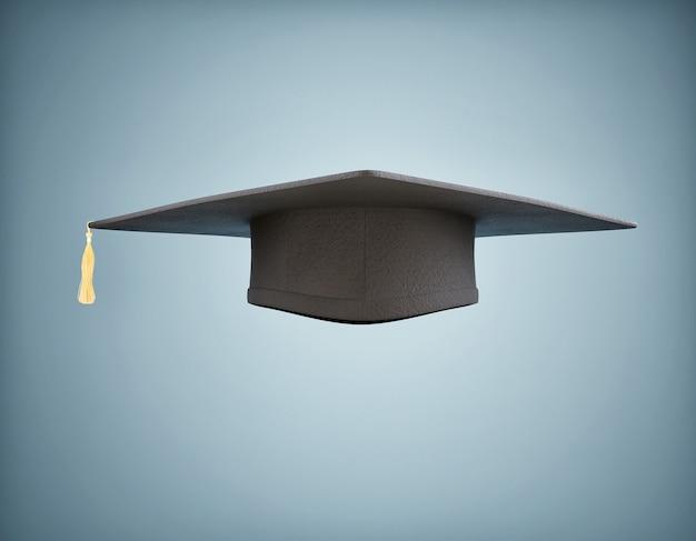 分離された黒い卒業帽子