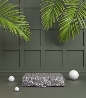 Black granite stone podium with dark green olive color and palm leaves 3d render