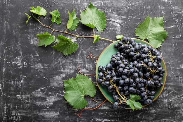 Black grapes in plate with vine plant on dark table top view. sweet juicy grapes food on black concrete background flat lay with copy space.