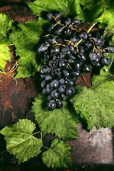 葉のある黒ブドウ